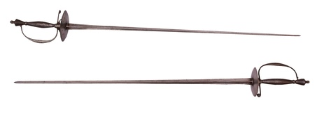 Old 18 century rapiers, isolated on background