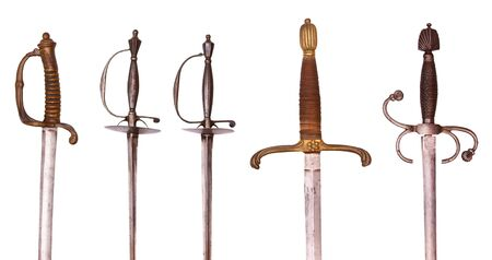 rapier: Series of swords, rapiers and sabres, isolated on background