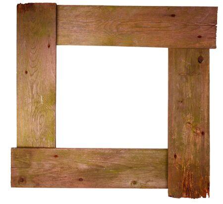 Frame made of weathered wood on white background Stock Photo