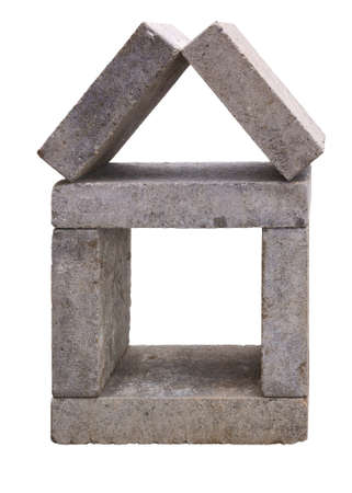 House made of concrete building blocks, isolated on background