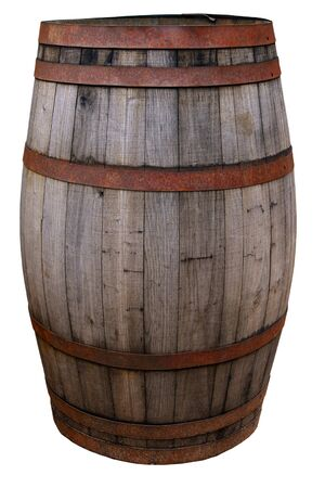 Vintage old worn barrel, isolated on background