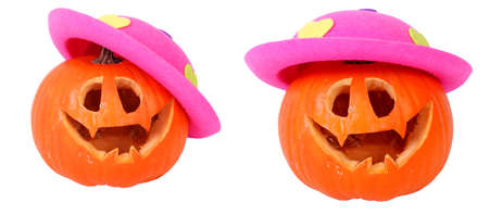 Helloween pumpkin with pink head, isolated on background