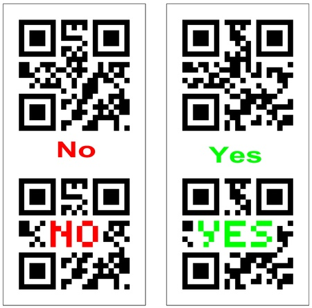 QR code with yes and no embedded Stock Photo