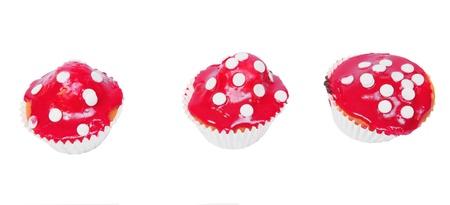 Fairytale mushroom cupcakes, isolated against background Stock Photo - 9812221