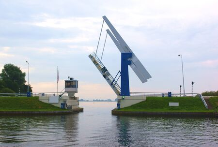 Open bridge in friesland (netherlands) Stock Photo