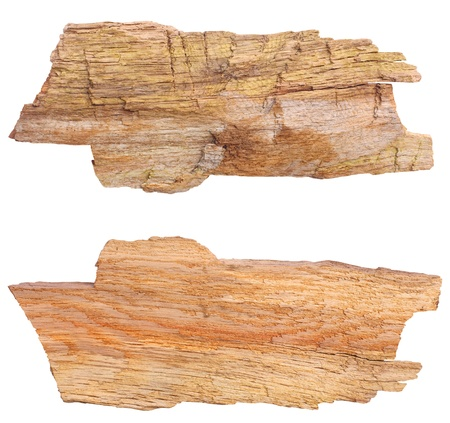 Piece of aged wood, 1 raw side, 1 smooth side, isolated against background