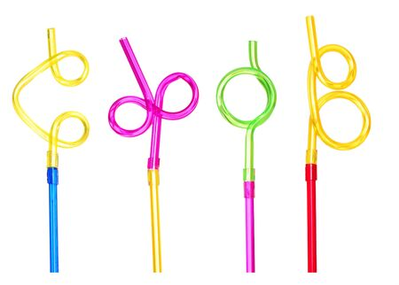 Funny straws, isolated against background photo