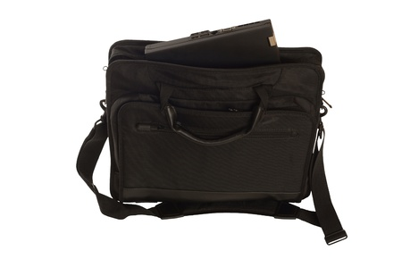 black bag with a laptop, isolated agains background