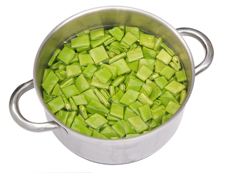 Pan with string beans, isolated on background