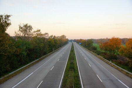 autobahn: German higway on a autumn morning Stock Photo