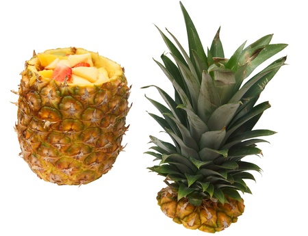 Pineapple fruit salad, isolated against background Stock Photo - 11074874