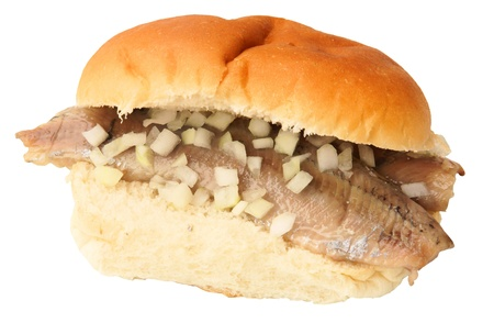 Dutch sandwich herring, isolated against background Stock Photo - 11074859