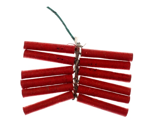 Red firecrackers isolated against background