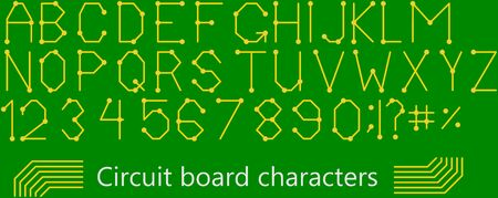 PCB circuit board style characters, against a green background