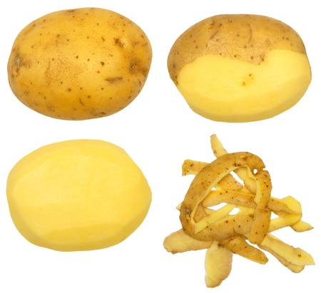 Series of peeling a potato, isolated against background Stock Photo