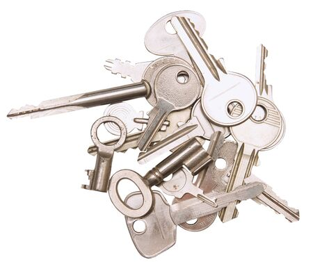 Assortment of keys, isolated against background