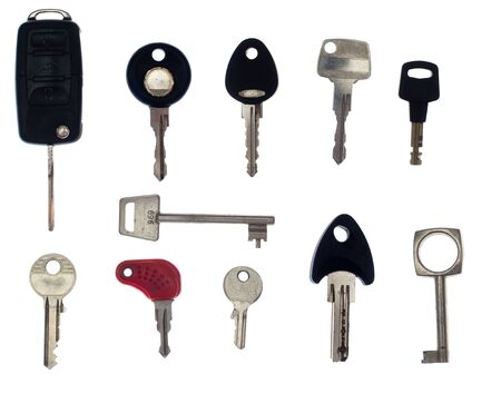 Series of several keys, isolated against background