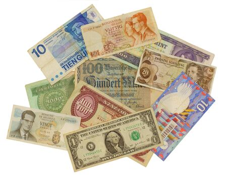 gulden: Several international banknotes, isolated against background Stock Photo