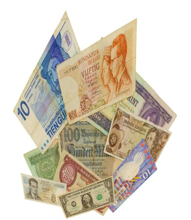 gulden: Sellection of different banknotes, isolated against backgrund Stock Photo