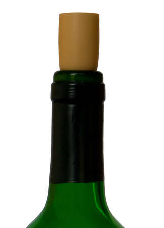 Wine bottle with cork, isolated on background