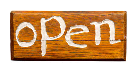 Open sign, isolated against background