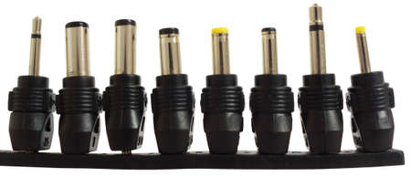 Series of adapter power plugs, isolated on background