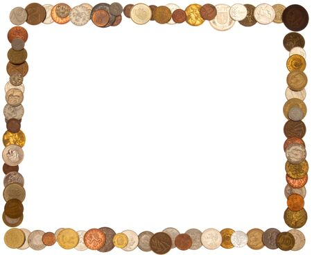 cadre: Cadre (rectangle) of coins, isolated against background Stock Photo