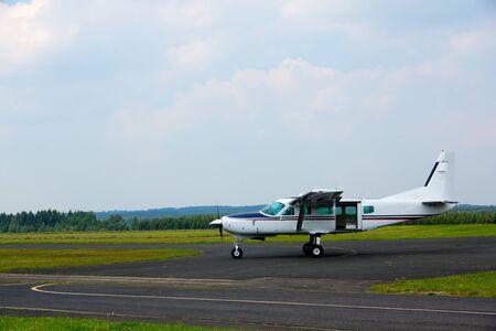 skydive: General aviation turboprop plane with skydive door Stock Photo
