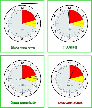 freefall: Skydive altimeters with different settings Illustration