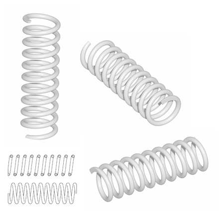 coil spring: Raster  Coil spring 3D render and line drawing Stock Photo