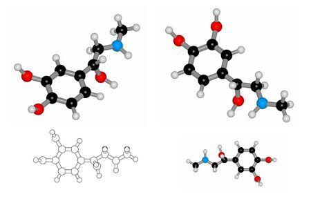 adrenaline: Raster  molecule of hormone adrenaline