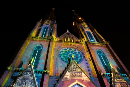 EINDHOVENNETHERLANDS - 14 NOVEMBER-2012: Church with light pattern during lightshow Glow