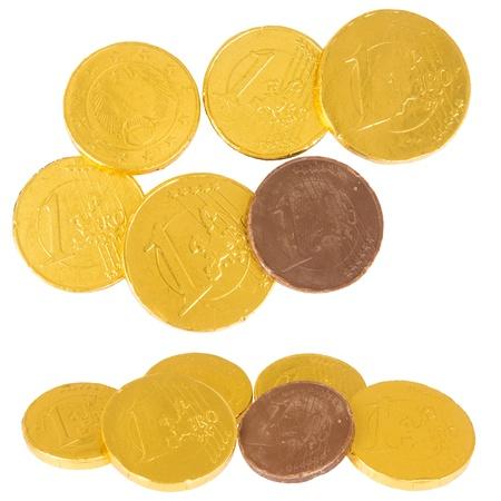 Chocolade euromunten, die tegen de achtergrond