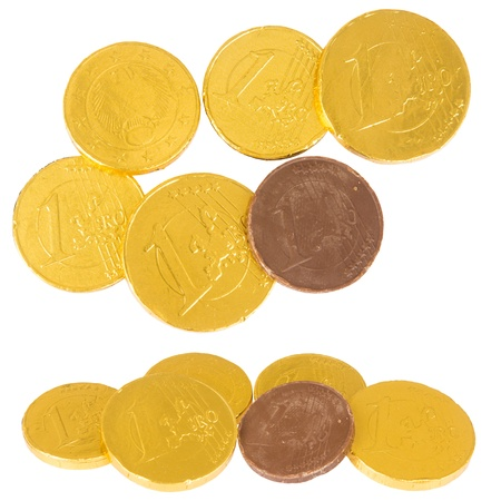 Chocolate euro coins, isolated against background Stock Photo