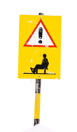Sled route warning sign, isolated on background Stock Photo