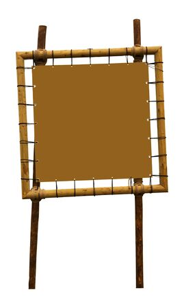 Empty brown wooden frame, isolated on white background