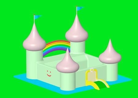 Render of a friendly castle with rainbow