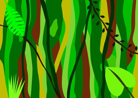 Background of a jungle with various leaves