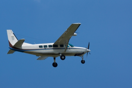 Turboprop airplane against a blue sky