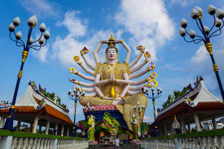 Koh Samui Thailand, Chinese God statue Guanyin at Wat Plaileam temple