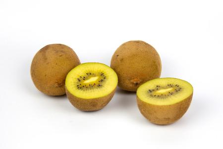 Ripe whole kiwi fruit and half kiwi fruit on white background Banco de Imagens
