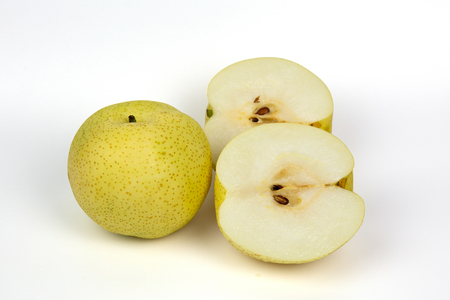Snow pear or Fengsui pear on white background, Korea pear fresh fruit with slices on white background.