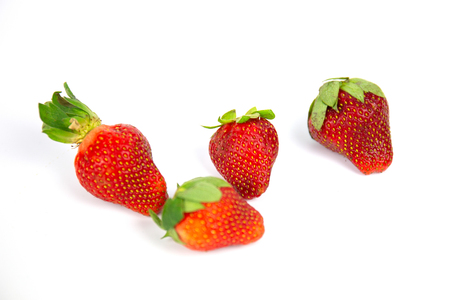 Fresh Strawberry with the white background.