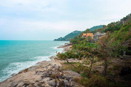 Sea view point Lad Koh and big stone beach, Koh Samui, Thailand. Banco de Imagens