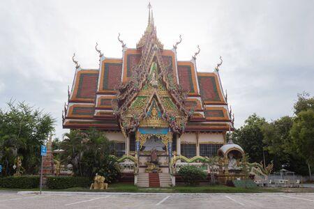 Wat Plai Laem temple. Samui, Thailand Landmark. Scenic View Of Buddhist Pagoda. Temple Complex Wat Phra Yai. Oriental Architecture. Landscape Background Banco de Imagens