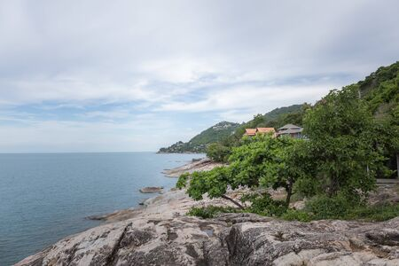Ladkoh View Point by the sea, big rocky beach with beautiful beachfront villas in Chaweng, Koh Samui, Thailand.