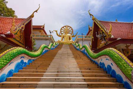 Scene in Wat Phra Yai (Big buddha temple) in Samui under blue sky in Samui island, Thailand