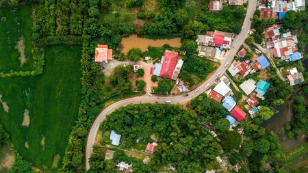 Aerial View Curve road pass in village Countryside