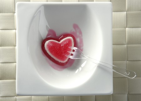 Eat a jelly strawberry bloody heart romantic metaphor Stock Photo - 3988056