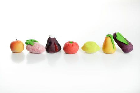 marzipan: Variety of fruits on colorful marzipan. St. Dionis famous saint celebration in Spain. San Dionisio. October 9 th Stock Photo